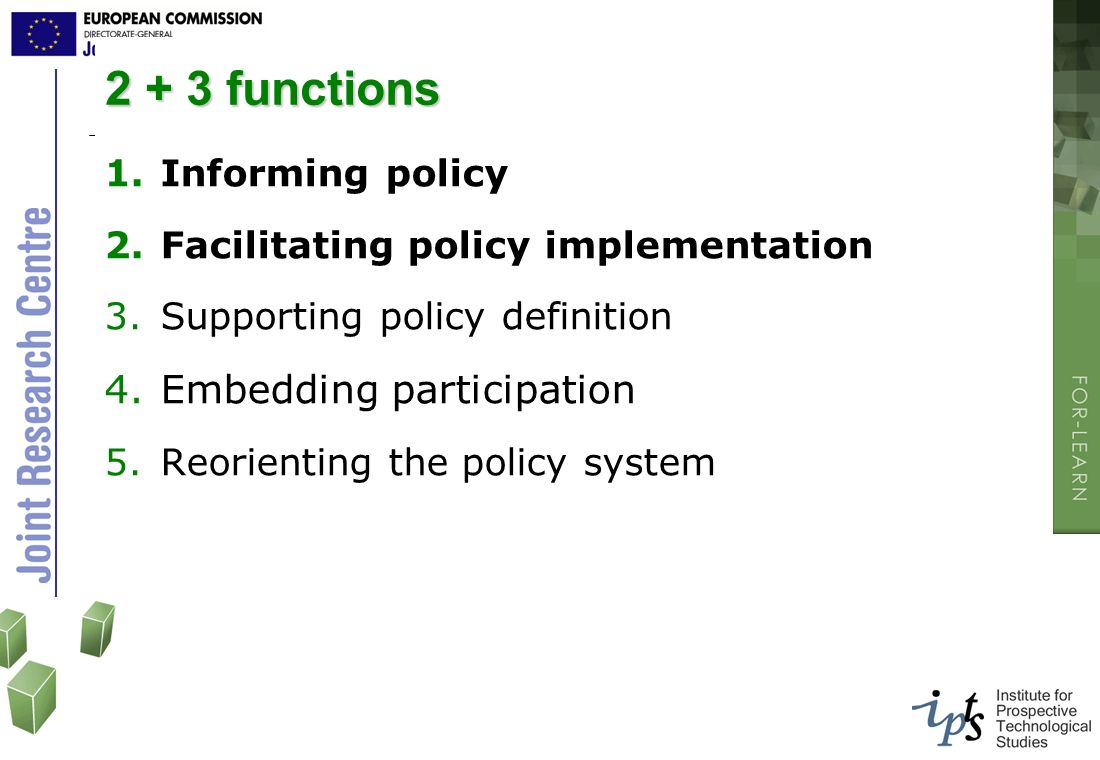 2 + 3 functions 1.Informing policy 2.Facilitating policy implementation 3.Supporting policy definition 4.Embedding participation 5.Reorienting the pol