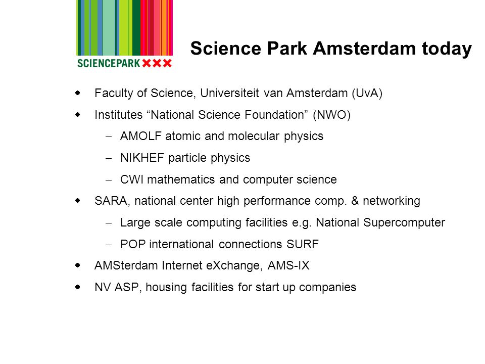 Science Park Amsterdam today Faculty of Science, Universiteit van Amsterdam (UvA) Institutes National Science Foundation (NWO) AMOLF atomic and molecu