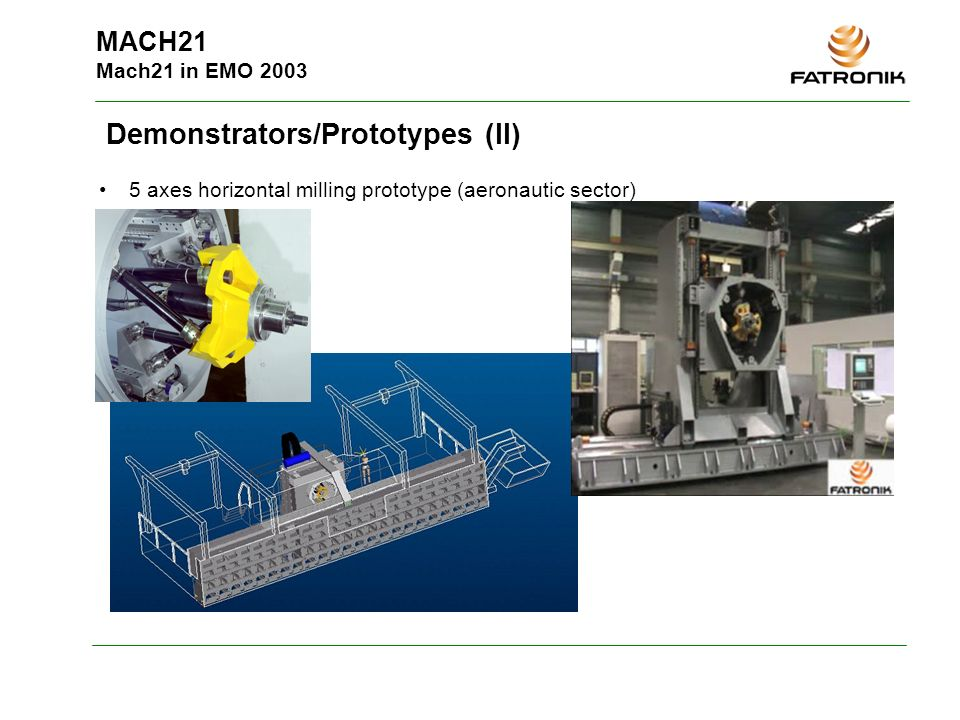MACH21 Mach21 in EMO 2003 Demonstrators/Prototypes (II) 5 axes horizontal milling prototype (aeronautic sector)