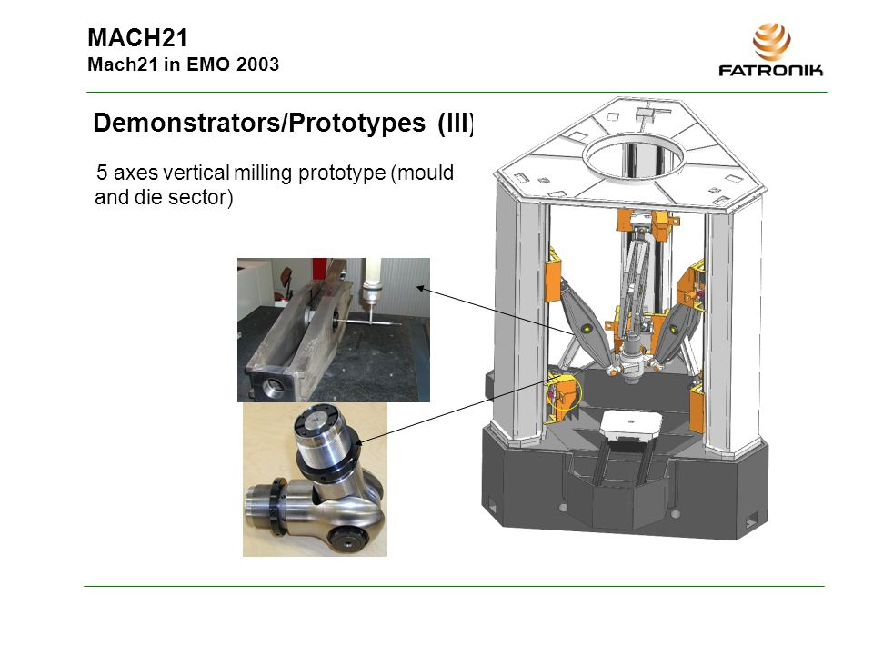 MACH21 Mach21 in EMO 2003 Demonstrators/Prototypes (III) 5 axes vertical milling prototype (mould and die sector)