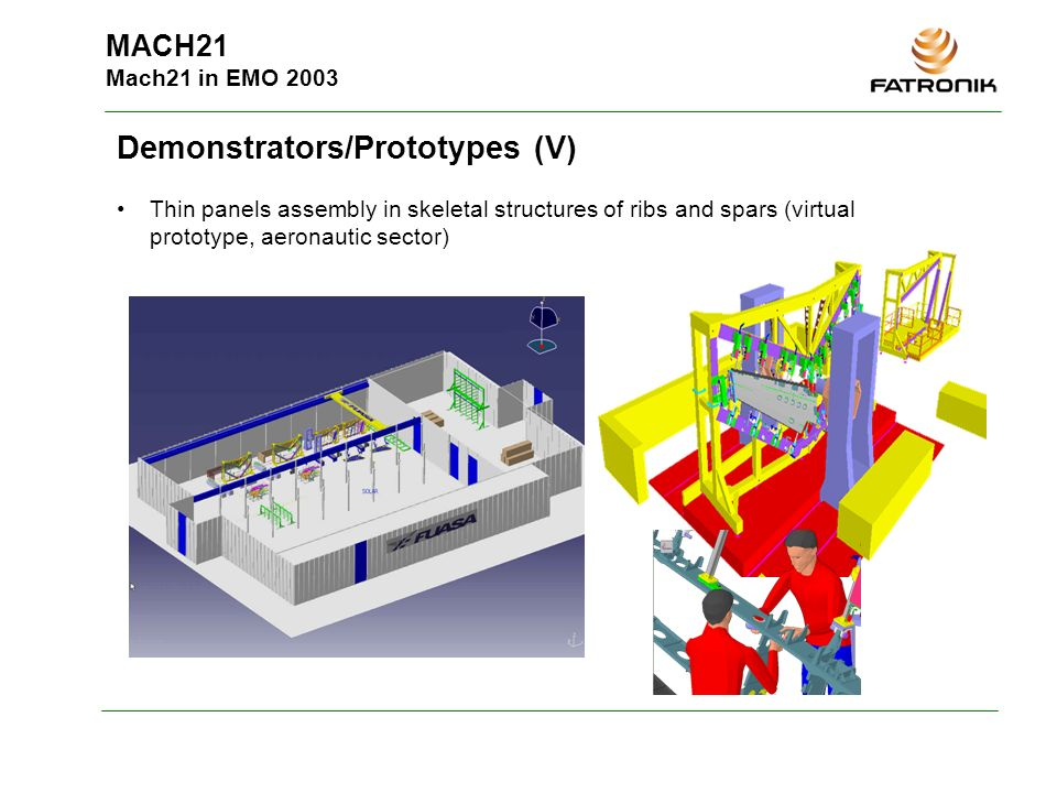 MACH21 Mach21 in EMO 2003 Demonstrators/Prototypes (V) Thin panels assembly in skeletal structures of ribs and spars (virtual prototype, aeronautic se