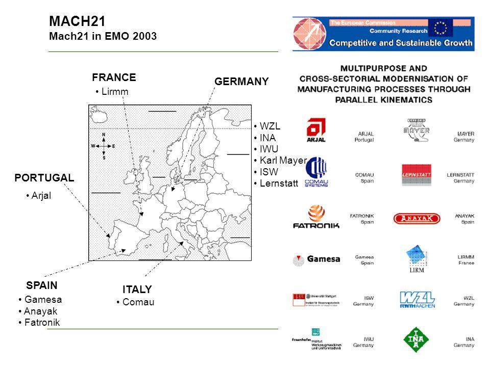 MACH21 Mach21 in EMO 2003 GERMANY ITALY PORTUGAL SPAIN WZL INA IWU Karl Mayer ISW Lernstatt Comau Gamesa Anayak Fatronik Arjal FRANCE Lirmm