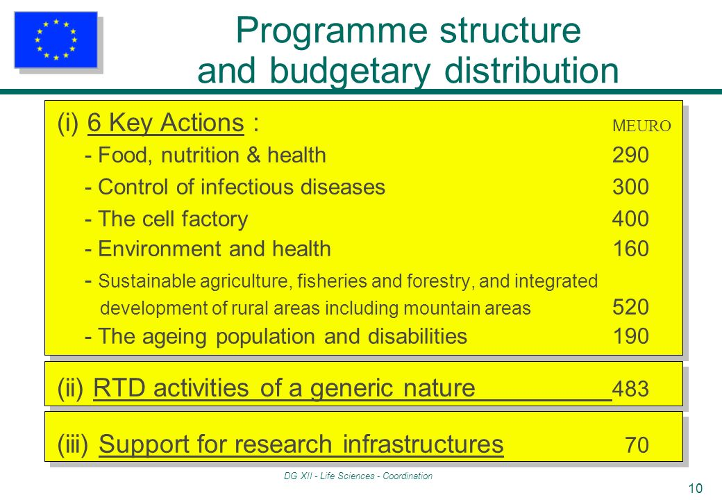 DG XII - Life Sciences - Coordination 10 Programme structure and budgetary distribution (i) 6 Key Actions : M EURO - Food, nutrition & health 290 - Control of infectious diseases300 - The cell factory400 - Environment and health 160 - Sustainable agriculture, fisheries and forestry, and integrated development of rural areas including mountain areas 520 - The ageing population and disabilities190 (ii) RTD activities of a generic nature 483 (iii) Support for research infrastructures 70