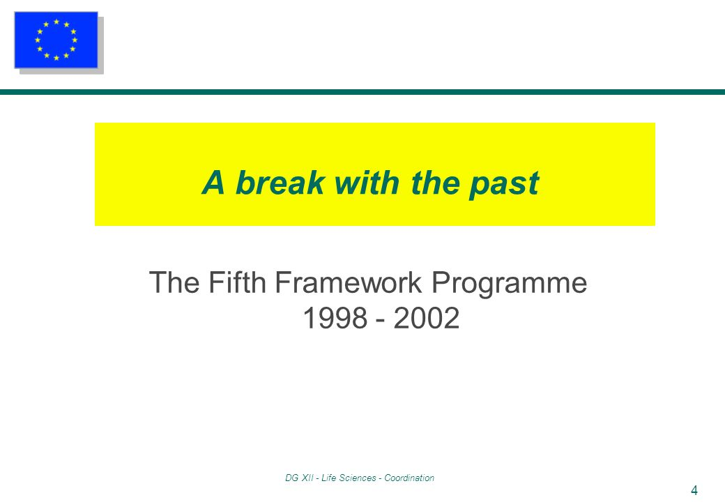 DG XII - Life Sciences - Coordination 4 A break with the past The Fifth Framework Programme 1998 - 2002