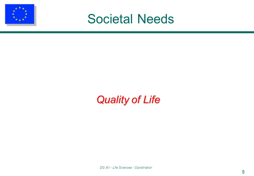 DG XII - Life Sciences - Coordination 6 Societal Needs Quality of Life Food healthier foods improved food safety and quality new and improved food processes