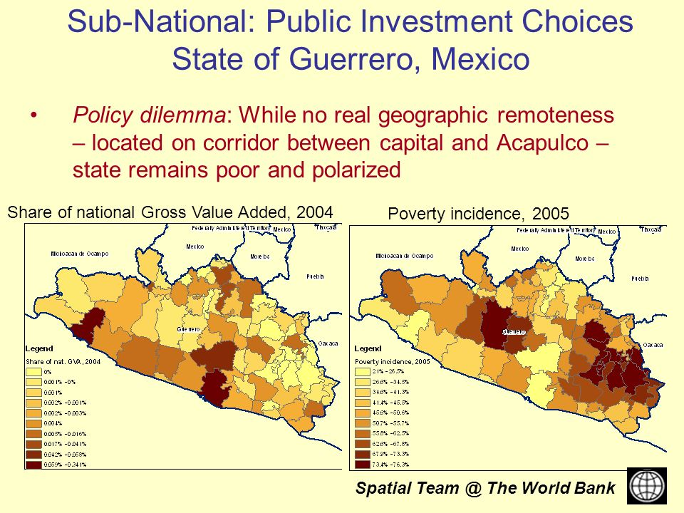 Spatial The World Bank Policy dilemma: While no real geographic remoteness – located on corridor between capital and Acapulco – state remains poor and polarized Poverty incidence, 2005 Share of national Gross Value Added, 2004 Sub-National: Public Investment Choices State of Guerrero, Mexico