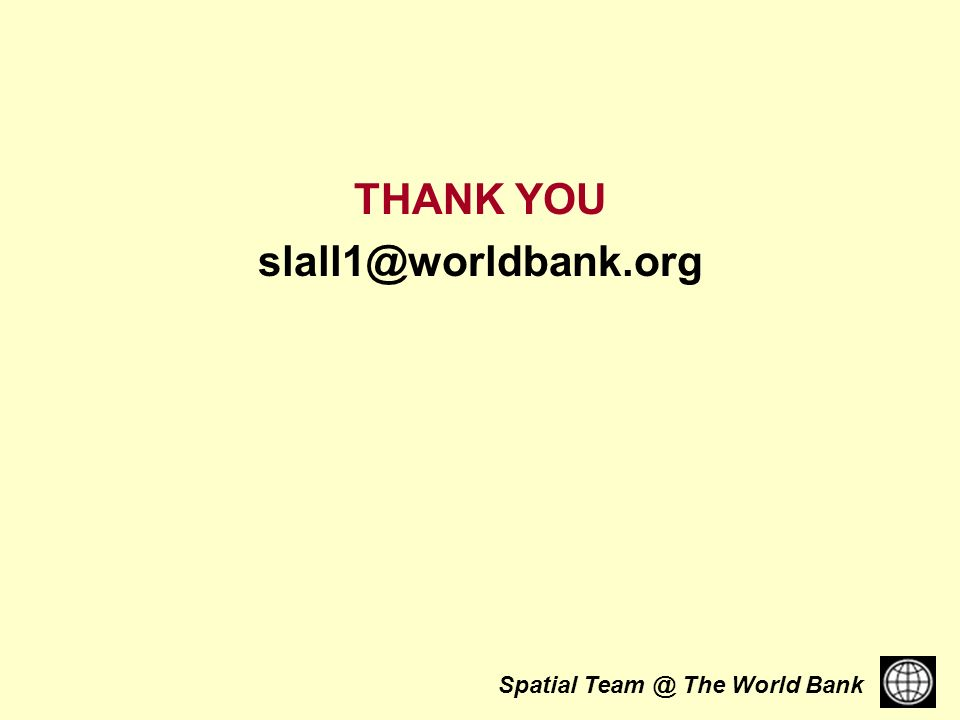 Spatial The World Bank THANK YOU