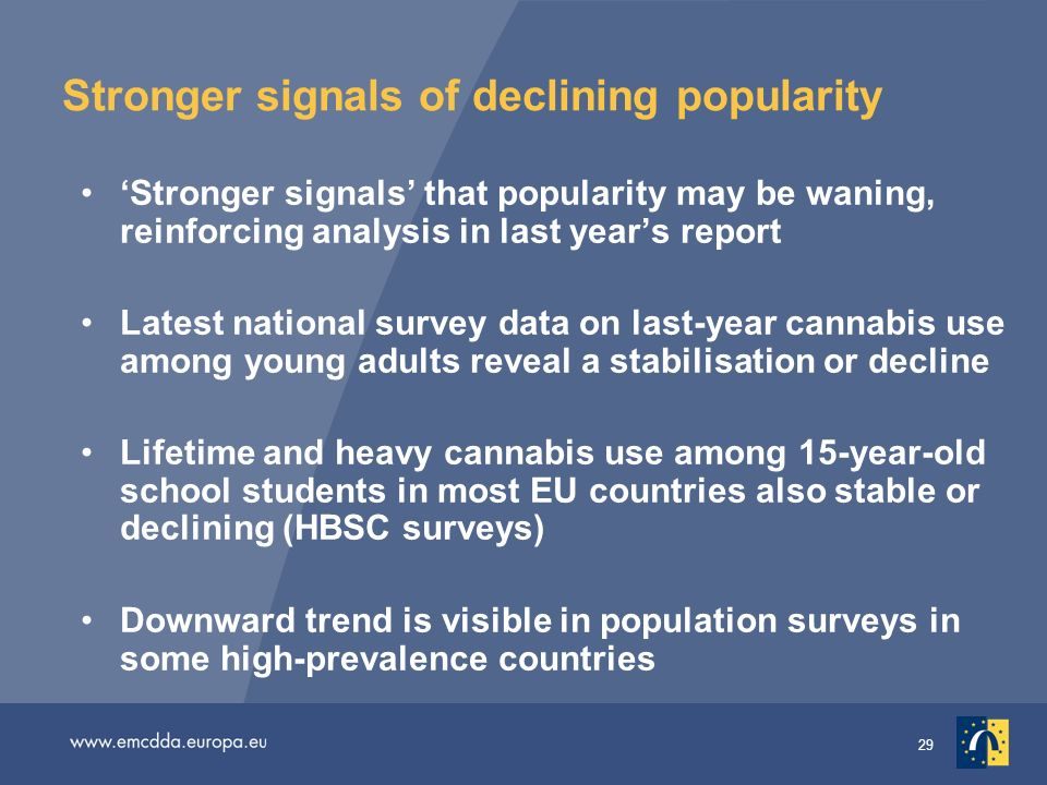 29 Stronger signals of declining popularity Stronger signals that popularity may be waning, reinforcing analysis in last years report Latest national survey data on last-year cannabis use among young adults reveal a stabilisation or decline Lifetime and heavy cannabis use among 15-year-old school students in most EU countries also stable or declining (HBSC surveys) Downward trend is visible in population surveys in some high-prevalence countries
