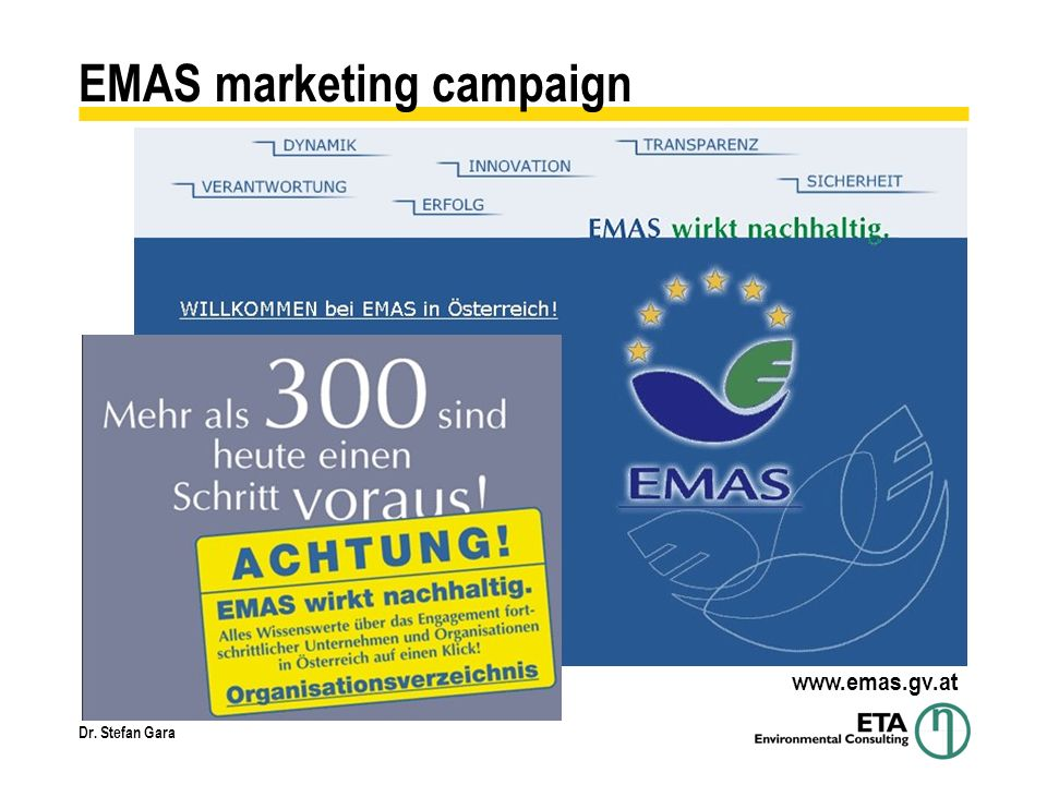 Dr. Stefan Gara EMAS marketing campaign