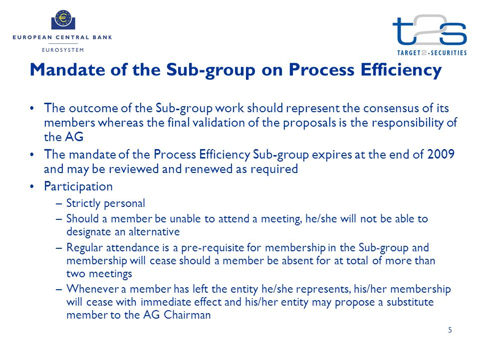 5 The outcome of the Sub-group work should represent the consensus of its members whereas the final validation of the proposals is the responsibility of the AG The mandate of the Process Efficiency Sub-group expires at the end of 2009 and may be reviewed and renewed as required Participation –Strictly personal –Should a member be unable to attend a meeting, he/she will not be able to designate an alternative –Regular attendance is a pre-requisite for membership in the Sub-group and membership will cease should a member be absent for at total of more than two meetings –Whenever a member has left the entity he/she represents, his/her membership will cease with immediate effect and his/her entity may propose a substitute member to the AG Chairman Mandate of the Sub-group on Process Efficiency