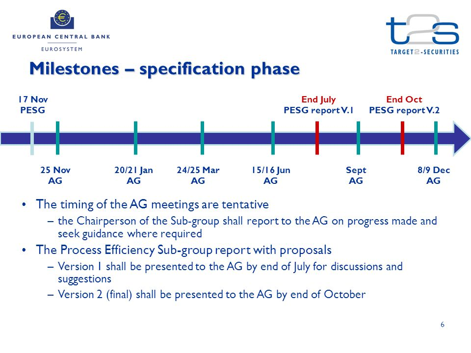 6 Milestones – specification phase 17 Nov PESG 25 Nov AG 20/21 Jan AG 24/25 Mar AG 15/16 Jun AG Sept AG 8/9 Dec AG The timing of the AG meetings are tentative –the Chairperson of the Sub-group shall report to the AG on progress made and seek guidance where required The Process Efficiency Sub-group report with proposals –Version 1 shall be presented to the AG by end of July for discussions and suggestions –Version 2 (final) shall be presented to the AG by end of October End July PESG report V.1 End Oct PESG report V.2