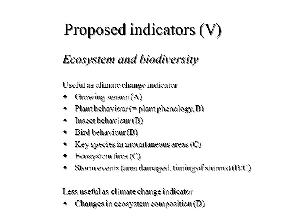 Proposed indicators (V) Ecosystem and biodiversity Useful as climate change indicator wGrowing season (A) wPlant behaviour (= plant phenology, B) wIns