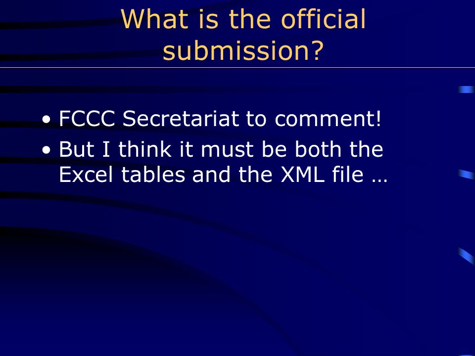 Generation of official Excel tables and XML data files