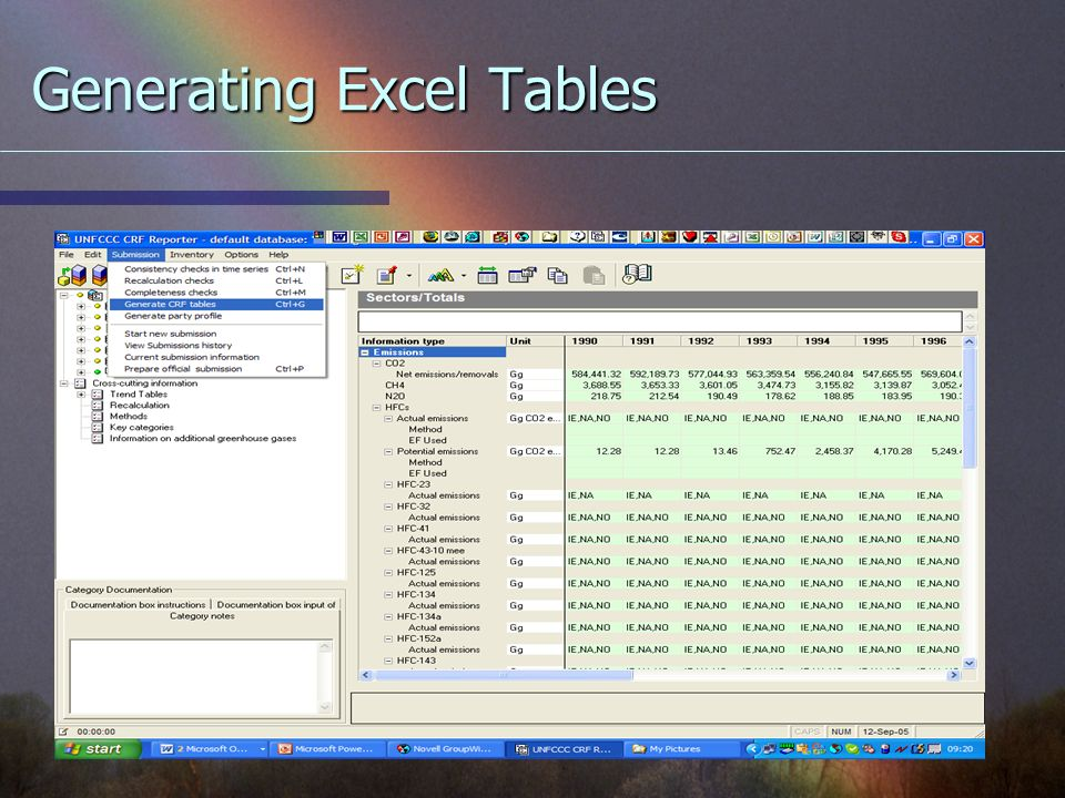 Generating Excel Tables