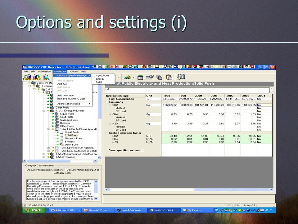 Options and settings (i)