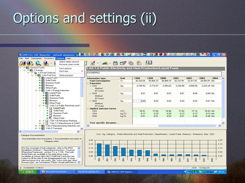 Options and settings (ii)