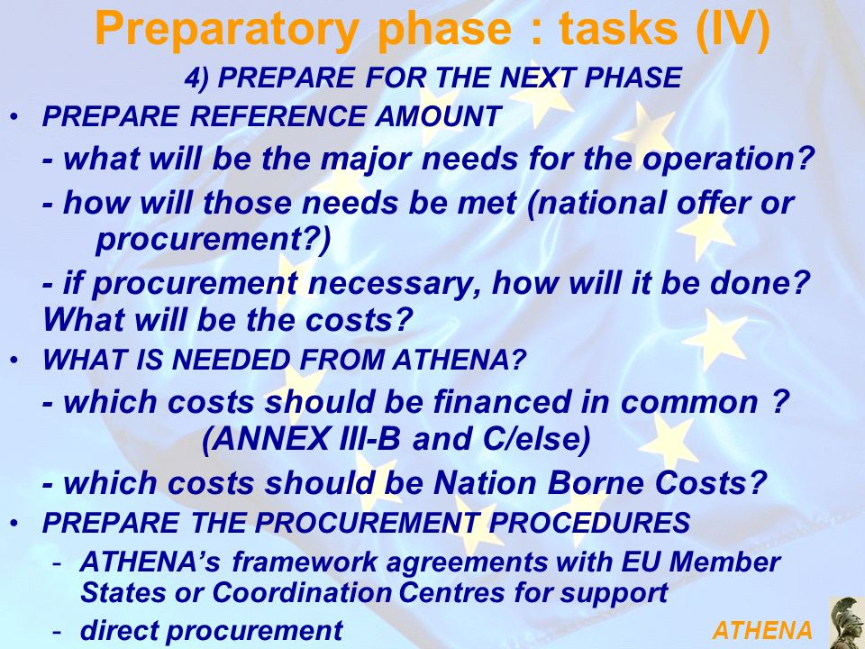 ATHENA 4) PREPARE FOR THE NEXT PHASE PREPARE REFERENCE AMOUNT - what will be the major needs for the operation.
