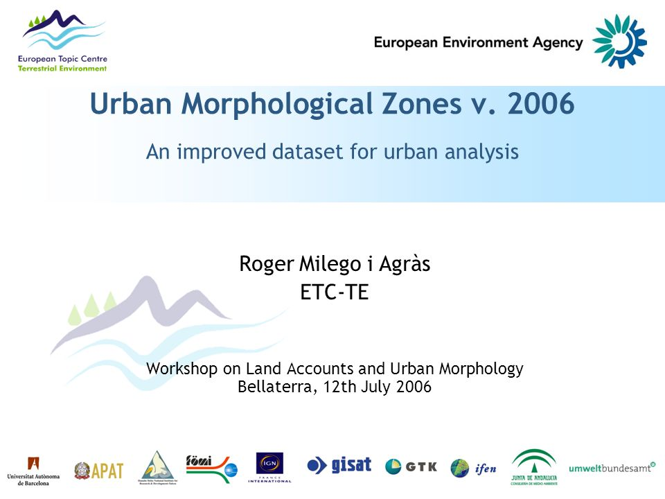 A set of urban areas laying less than 200m apart Urban areas defined from land cover classes contributing to the urban tissue and function.
