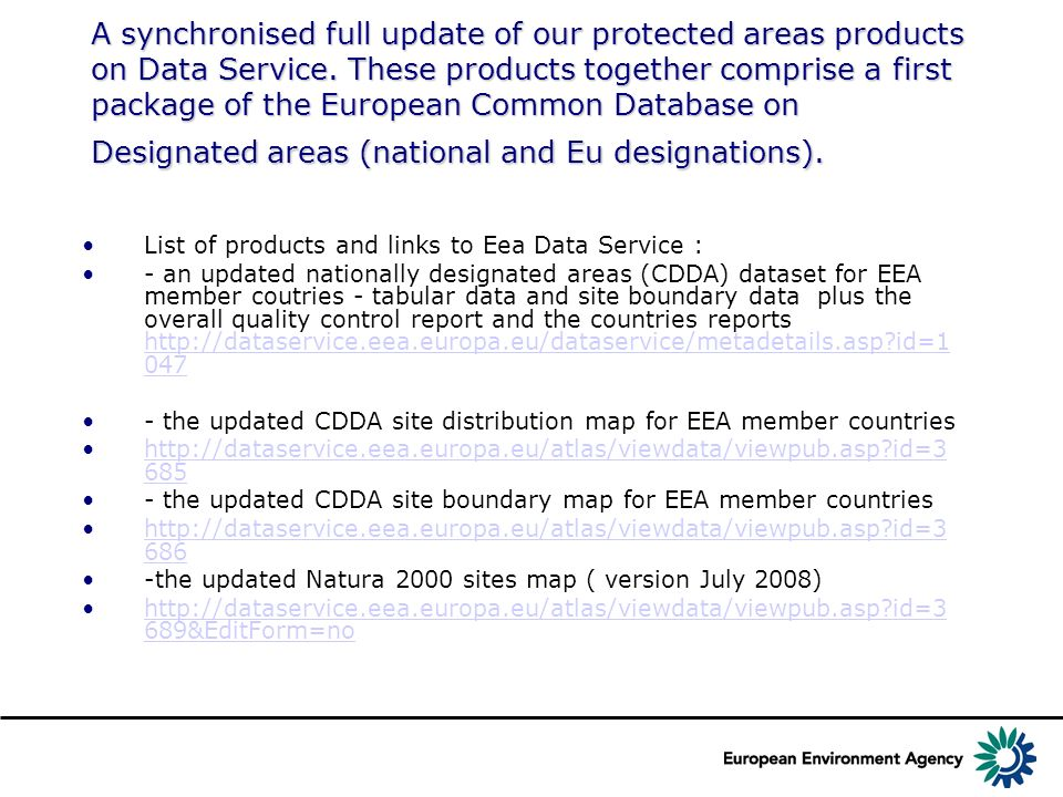 A synchronised full update of our protected areas products on Data Service. These products together comprise a first package of the European Common Da