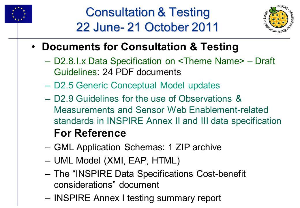 14 Consultation & Testing 22 June- 21 October 2011 Documents for Consultation & Testing –D2.8.I.x Data Specification on – Draft Guidelines: 24 PDF doc
