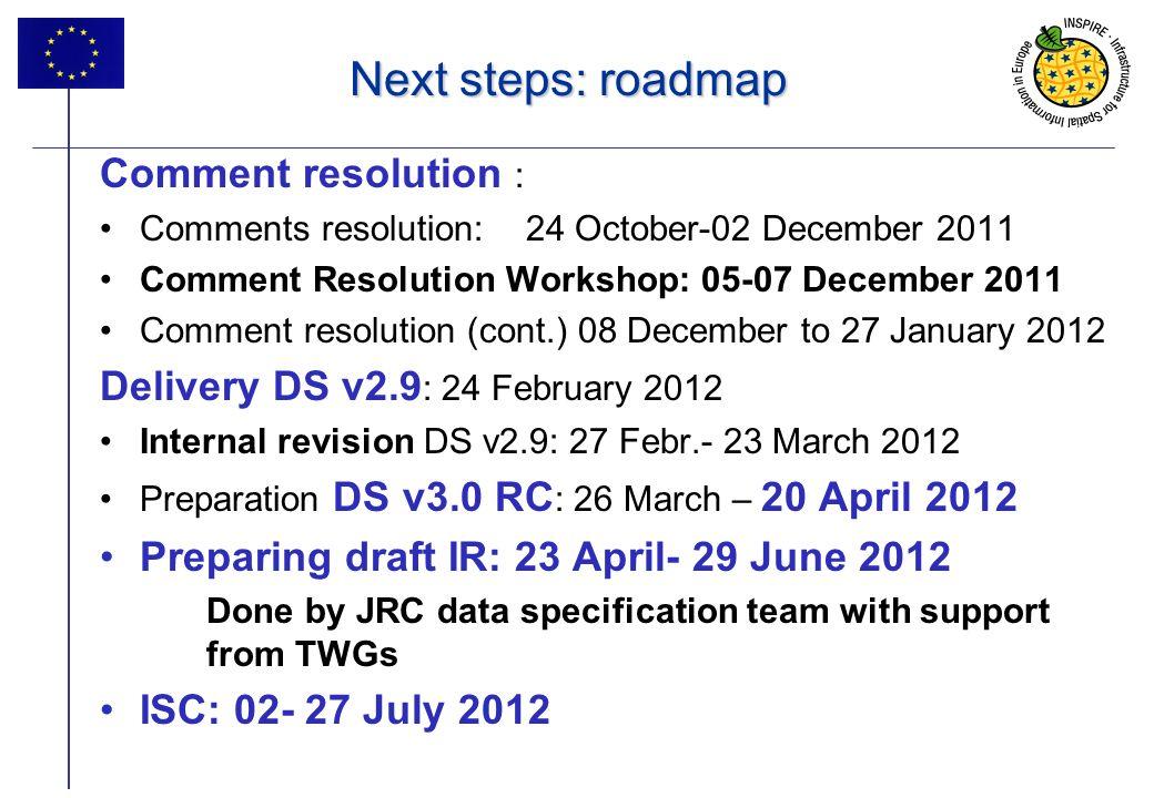 17 Next steps: roadmap Comment resolution : Comments resolution: 24 October-02 December 2011 Comment Resolution Workshop: 05-07 December 2011 Comment