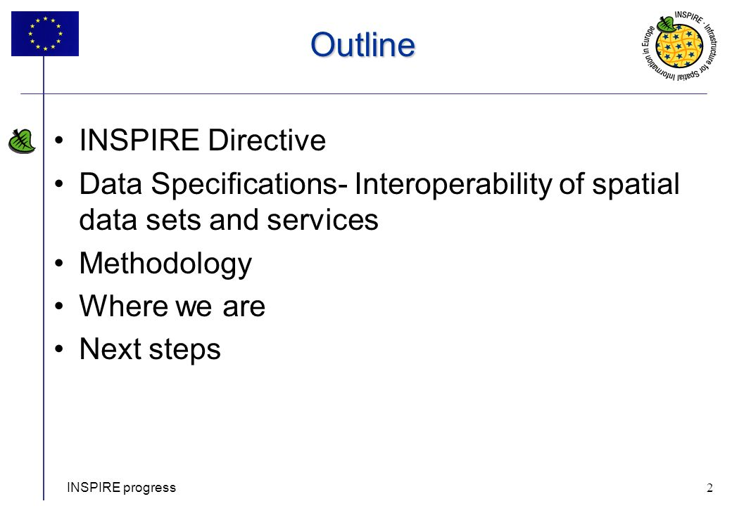 2 INSPIRE progress 2 Outline INSPIRE Directive Data Specifications- Interoperability of spatial data sets and services Methodology Where we are Next s