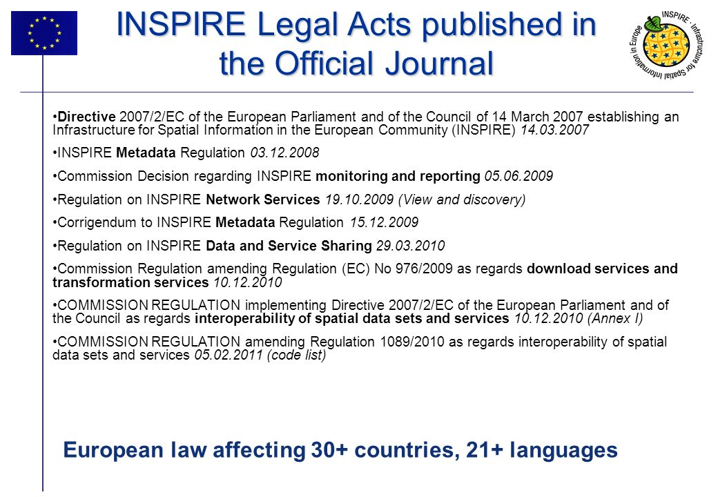 5 INSPIRE Legal Acts published in the Official Journal Directive 2007/2/EC of the European Parliament and of the Council of 14 March 2007 establishing an Infrastructure for Spatial Information in the European Community (INSPIRE) 14.03.2007 INSPIRE Metadata Regulation 03.12.2008 Commission Decision regarding INSPIRE monitoring and reporting 05.06.2009 Regulation on INSPIRE Network Services 19.10.2009 (View and discovery) Corrigendum to INSPIRE Metadata Regulation 15.12.2009 Regulation on INSPIRE Data and Service Sharing 29.03.2010 Commission Regulation amending Regulation (EC) No 976/2009 as regards download services and transformation services 10.12.2010 COMMISSION REGULATION implementing Directive 2007/2/EC of the European Parliament and of the Council as regards interoperability of spatial data sets and services 10.12.2010 (Annex I) COMMISSION REGULATION amending Regulation 1089/2010 as regards interoperability of spatial data sets and services 05.02.2011 (code list) European law affecting 30+ countries, 21+ languages