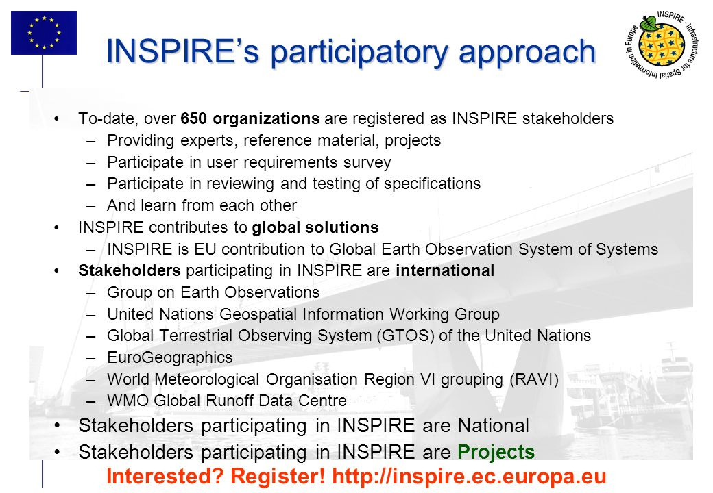 6 INSPIREs participatory approach To-date, over 650 organizations are registered as INSPIRE stakeholders –Providing experts, reference material, projects –Participate in user requirements survey –Participate in reviewing and testing of specifications –And learn from each other INSPIRE contributes to global solutions –INSPIRE is EU contribution to Global Earth Observation System of Systems Stakeholders participating in INSPIRE are international –Group on Earth Observations –United Nations Geospatial Information Working Group –Global Terrestrial Observing System (GTOS) of the United Nations –EuroGeographics –World Meteorological Organisation Region VI grouping (RAVI) –WMO Global Runoff Data Centre Stakeholders participating in INSPIRE are National Stakeholders participating in INSPIRE are Projects Interested.
