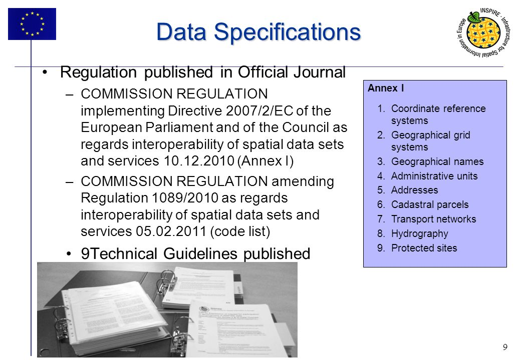 9 INSPIRE progress 9 Data Specifications Regulation published in Official Journal –COMMISSION REGULATION implementing Directive 2007/2/EC of the Europ