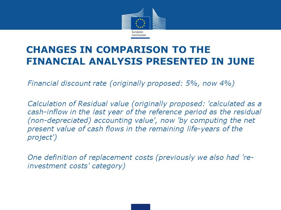 CHANGES IN COMPARISON TO THE FINANCIAL ANALYSIS PRESENTED IN JUNE Financial discount rate (originally proposed: 5%, now 4%) Calculation of Residual value (originally proposed: calculated as a cash-inflow in the last year of the reference period as the residual (non-depreciated) accounting value , now by computing the net present value of cash flows in the remaining life-years of the project ) One definition of replacement costs (previously we also had re- investment costs category)