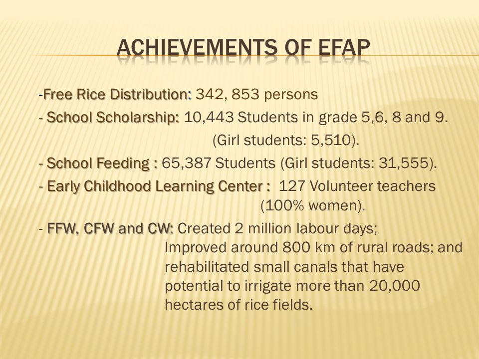 Free Rice Distribution: -Free Rice Distribution: 342, 853 persons - School Scholarship: - School Scholarship: 10,443 Students in grade 5,6, 8 and 9.