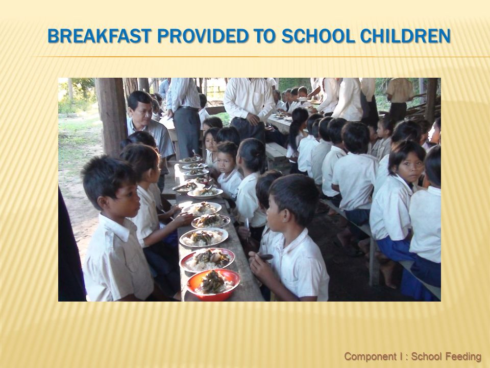 BREAKFAST PROVIDED TO SCHOOL CHILDREN Component I : School Feeding