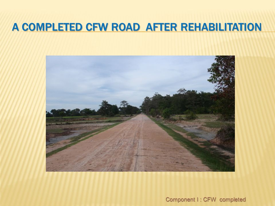 A COMPLETED CFW ROAD AFTER REHABILITATION Component I : CFW completed