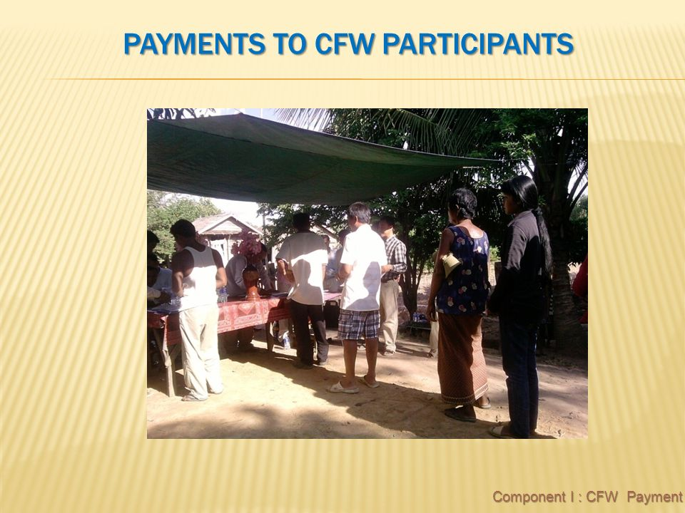 PAYMENTS TO CFW PARTICIPANTS Component I : CFW Payment