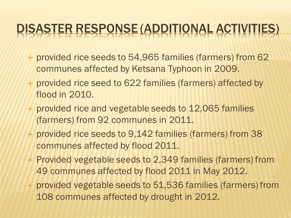 provided rice seeds to 54,965 families (farmers) from 62 communes affected by Ketsana Typhoon in 2009. provided rice seed to 622 families (farmers) af