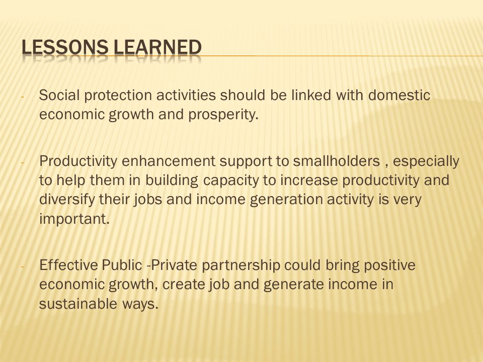 - Social protection activities should be linked with domestic economic growth and prosperity.
