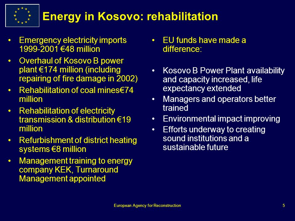 European Agency for Reconstruction5 Energy in Kosovo: rehabilitation Emergency electricity imports 1999-2001 48 million Overhaul of Kosovo B power plant 174 million (including repairing of fire damage in 2002) Rehabilitation of coal mines74 million Rehabilitation of electricity transmission & distribution 19 million Refurbishment of district heating systems 8 million Management training to energy company KEK, Turnaround Management appointed EU funds have made a difference: Kosovo B Power Plant availability and capacity increased, life expectancy extended Managers and operators better trained Environmental impact improving Efforts underway to creating sound institutions and a sustainable future
