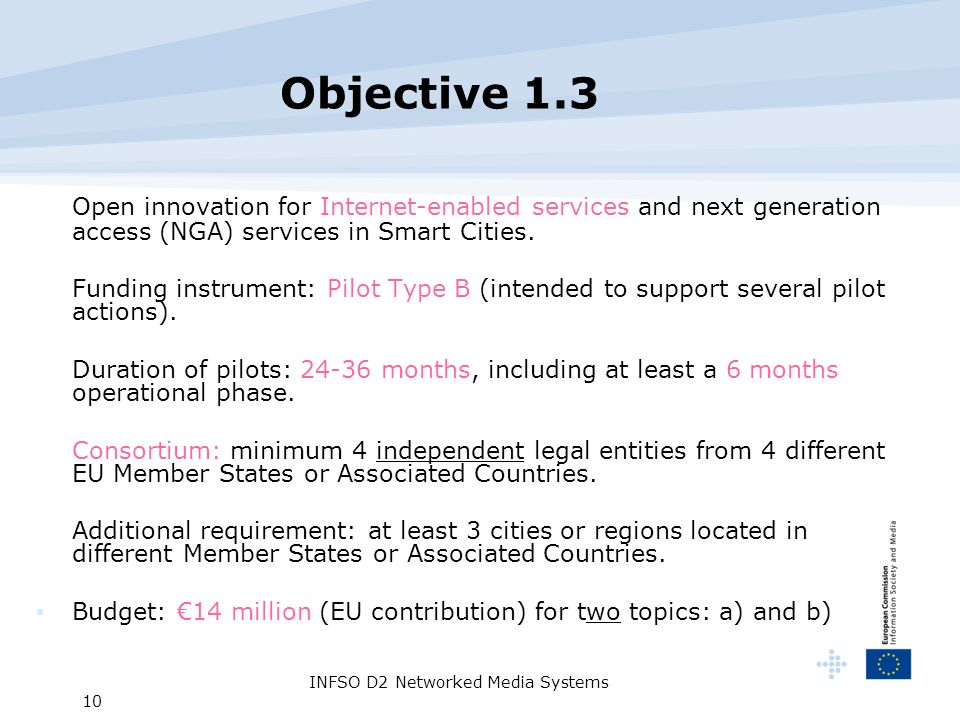 INFSO D2 Networked Media Systems 10 Objective 1.3 Open innovation for Internet-enabled services and next generation access (NGA) services in Smart Cities.