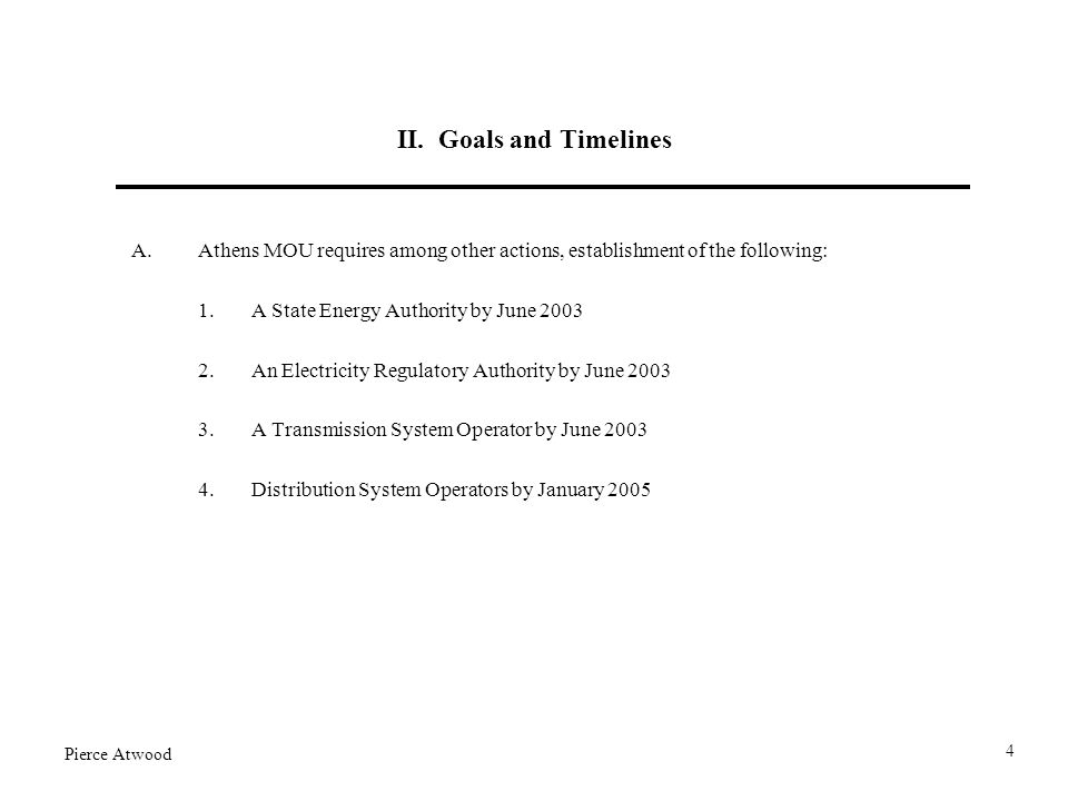 II. Goals and Timelines A.Athens MOU requires among other actions, establishment of the following: 1.A State Energy Authority by June 2003 2.An Electr