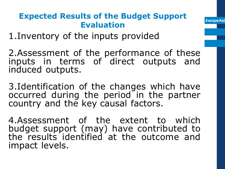 EuropeAid 1.Inventory of the inputs provided 2.Assessment of the performance of these inputs in terms of direct outputs and induced outputs.