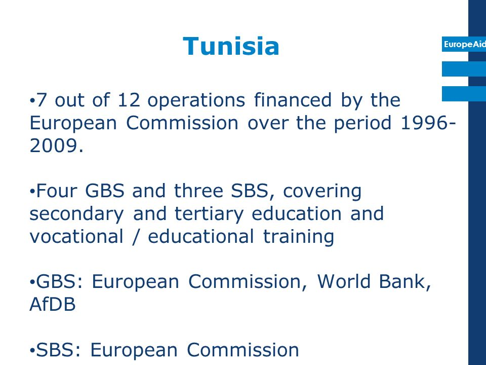EuropeAid Tunisia 7 out of 12 operations financed by the European Commission over the period 1996- 2009.