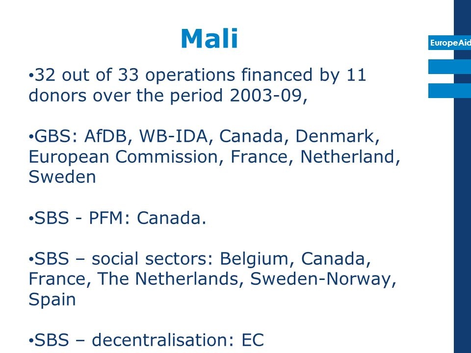 EuropeAid 32 out of 33 operations financed by 11 donors over the period , GBS: AfDB, WB-IDA, Canada, Denmark, European Commission, France, Netherland, Sweden SBS - PFM: Canada.