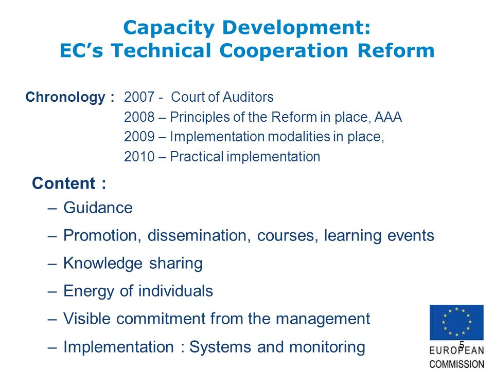 5 Capacity Development: ECs Technical Cooperation Reform Chronology : 2007 - Court of Auditors 2008 – Principles of the Reform in place, AAA 2009 – Implementation modalities in place, 2010 – Practical implementation –Guidance –Promotion, dissemination, courses, learning events –Knowledge sharing –Energy of individuals –Visible commitment from the management –Implementation : Systems and monitoring Content :