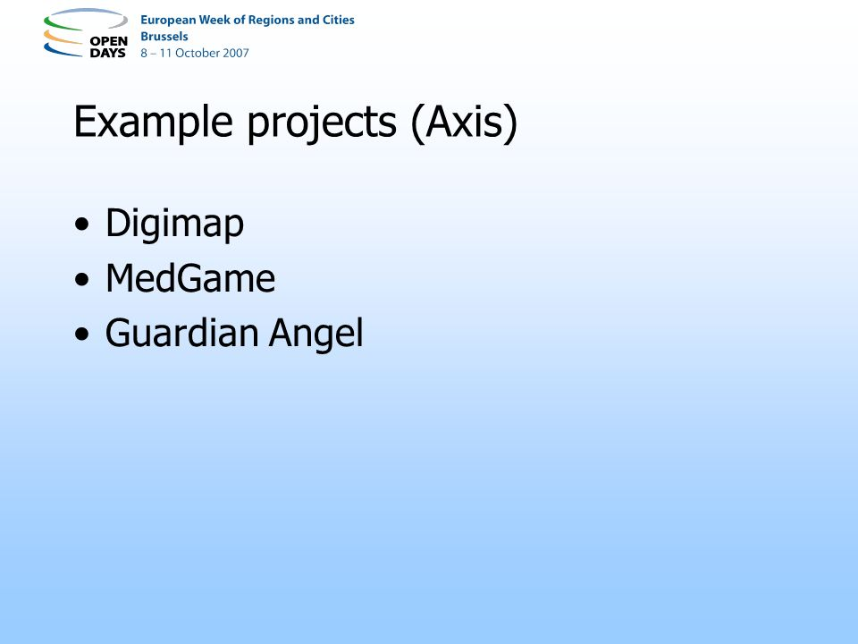 Example projects (Axis) Digimap MedGame Guardian Angel