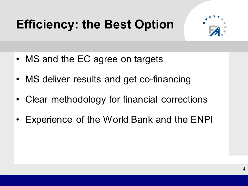 Efficiency: the Best Option MS and the EC agree on targets MS deliver results and get co-financing Clear methodology for financial corrections Experie