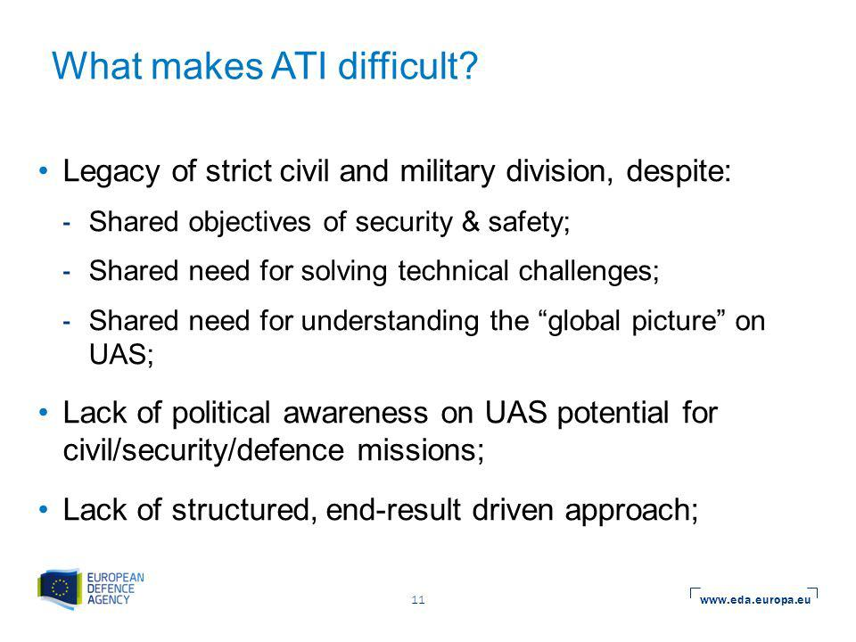 www.eda.europa.eu 11 What makes ATI difficult.