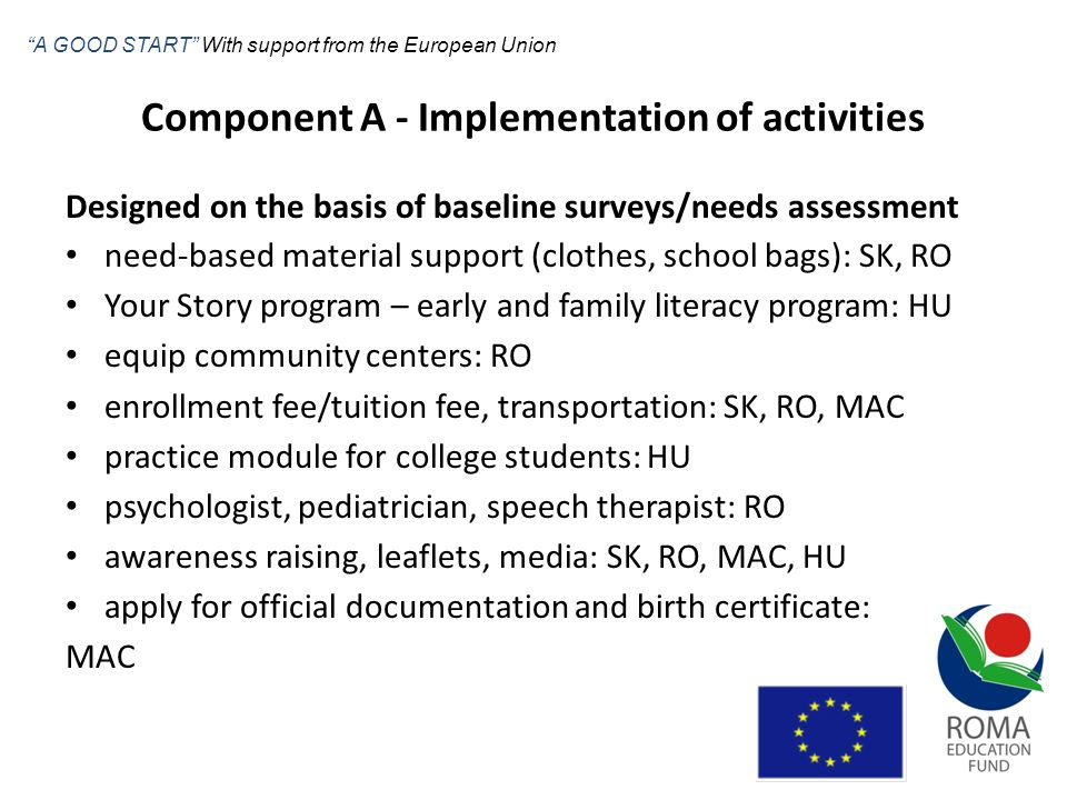 Component A - Implementation of activities Designed on the basis of baseline surveys/needs assessment need-based material support (clothes, school bag