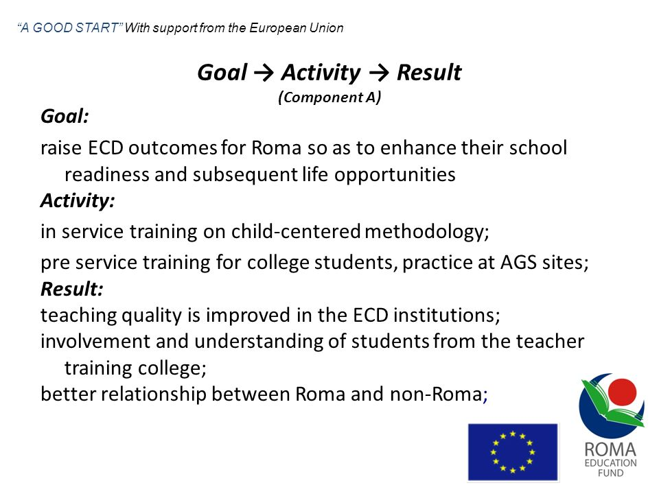 Goal Activity Result (Component A) Goal: raise ECD outcomes for Roma so as to enhance their school readiness and subsequent life opportunities Activit