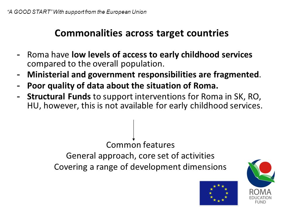 Differences across target countries The policy environment varies in the target countries Policies and programs targeting different groups of children The quality and availability of early childhood services varies both within and across countries Different partnership arrangements in each country Around the core set of activities different approaches have been developed in the countries.
