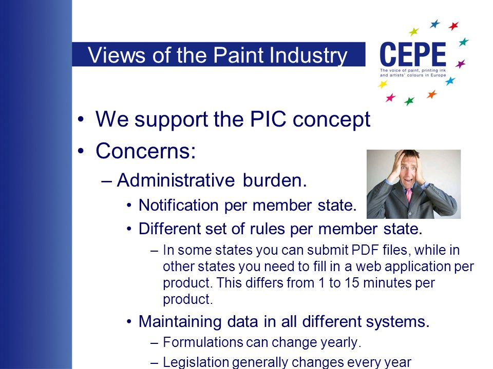 Views of the Paint Industry We support the PIC concept Concerns: –Administrative burden.